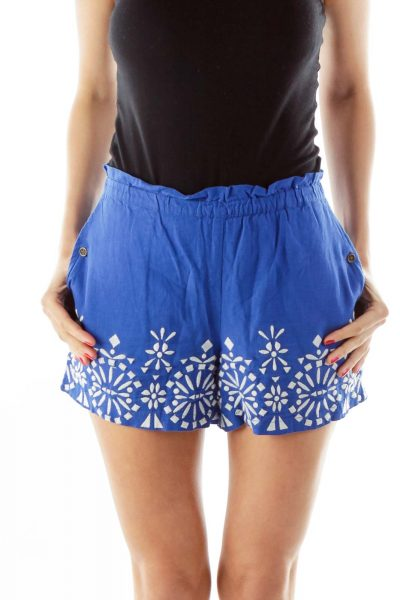 Blue White Embroidered Linen Shorts