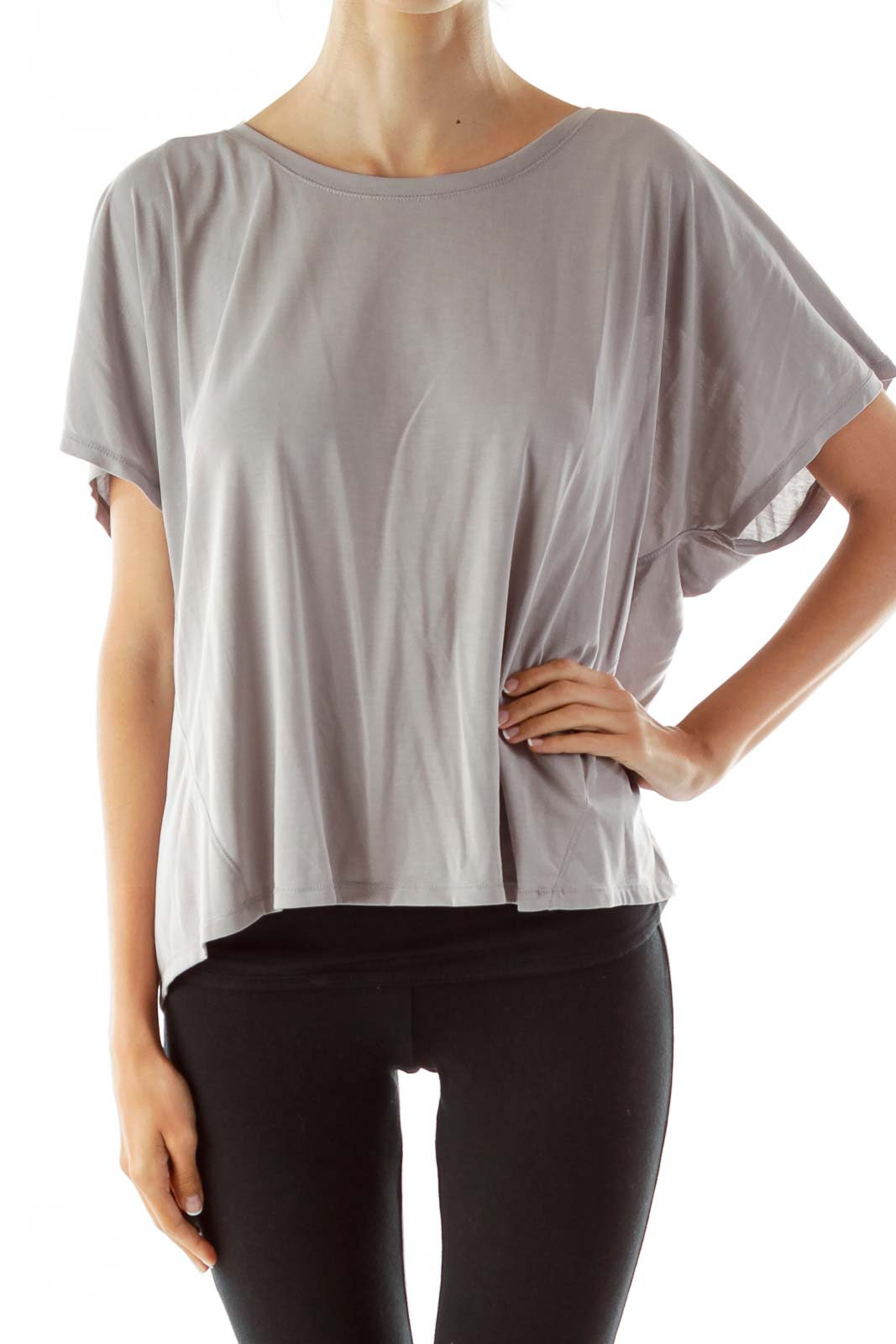 Gray Loose Open-Back T-Shirt