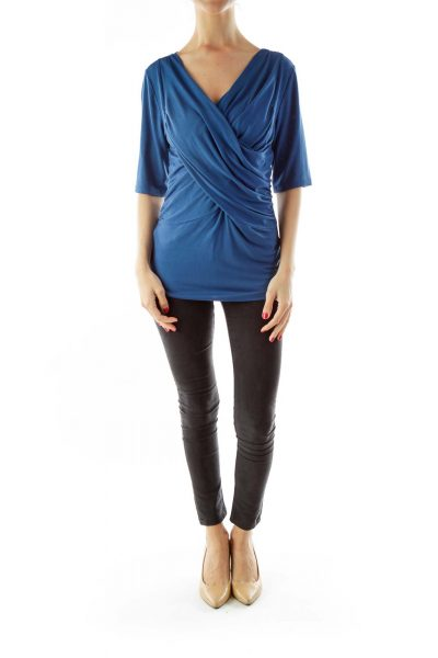 Blue Scrunched V-Neck Top