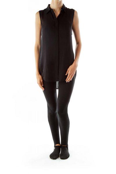 Black Sleeveless Silk Shirt