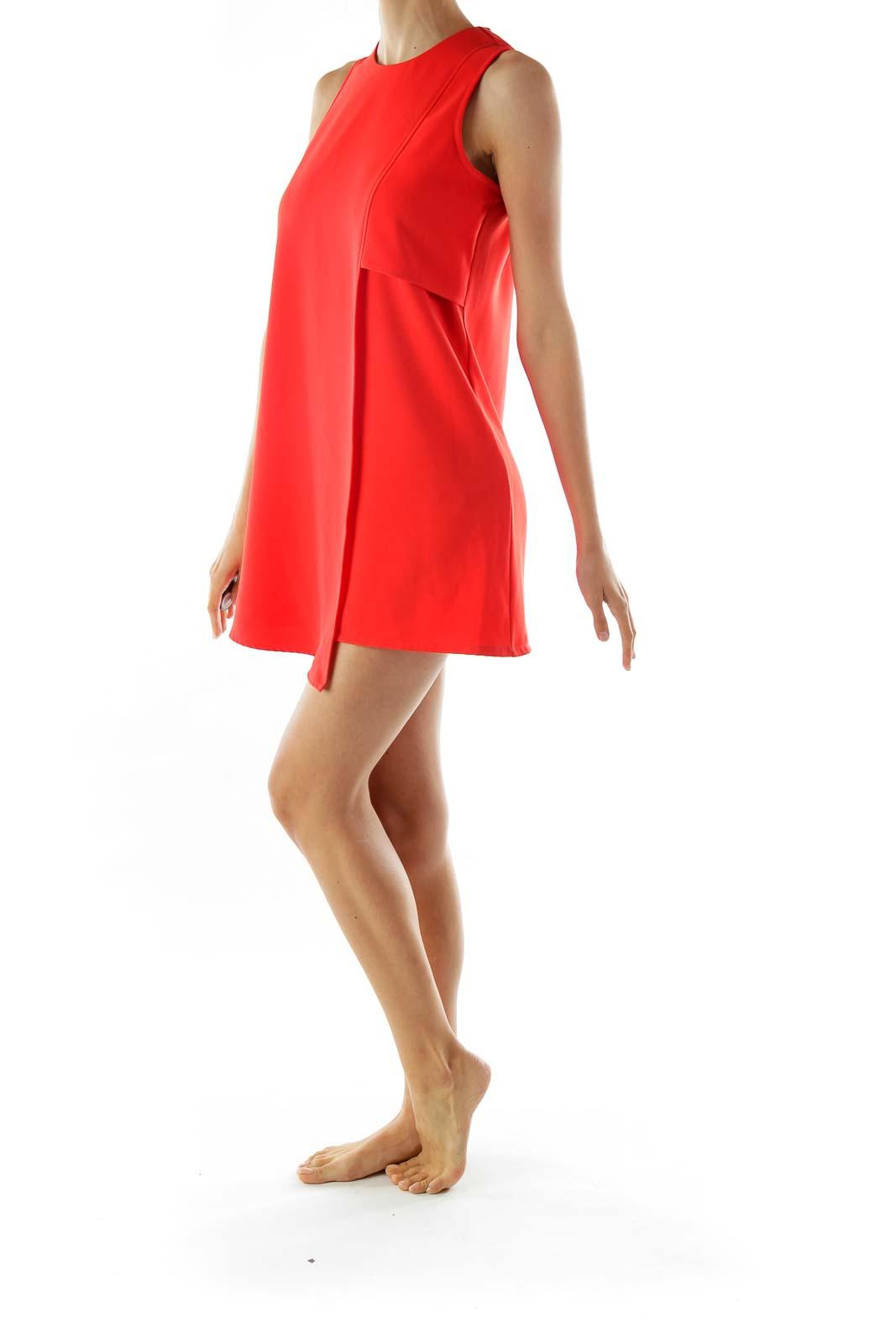 Red Asymmetric Shift Day Dress