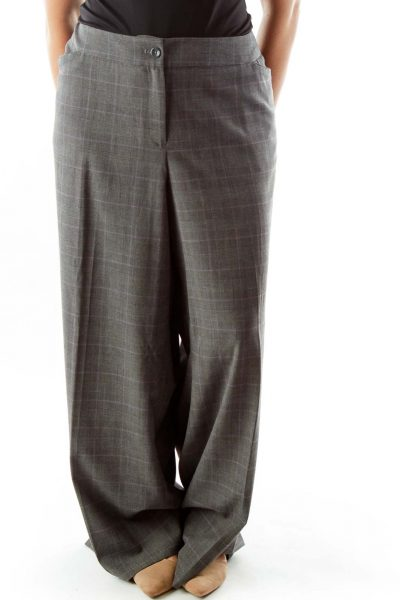 Grey Purple Houndstooth Tartan Suit Pants