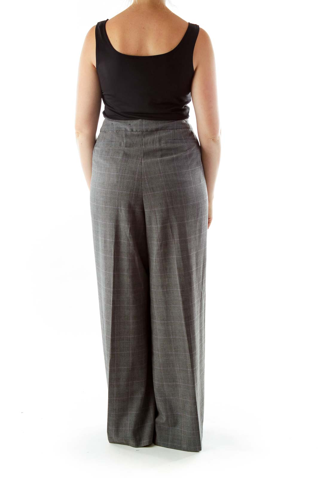 Grey Purple Houndstooth Tartan Suit Pants