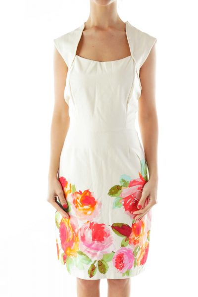 Beige A-Line Day Dress w/ Flowers