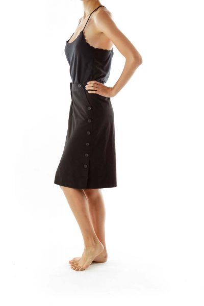 Black Buttoned Pencil Skirt