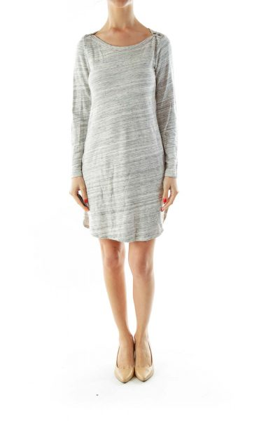 Gray White Buttoned Jersey Dress