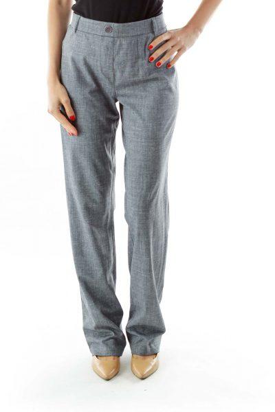 Gray Straight-Leg Pants