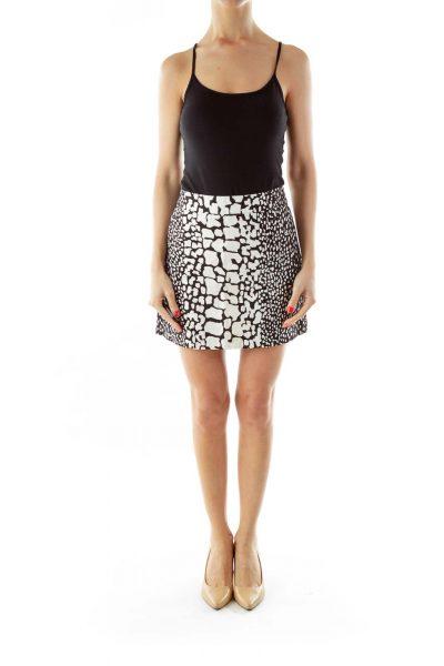 Black White Print Mini Skirt