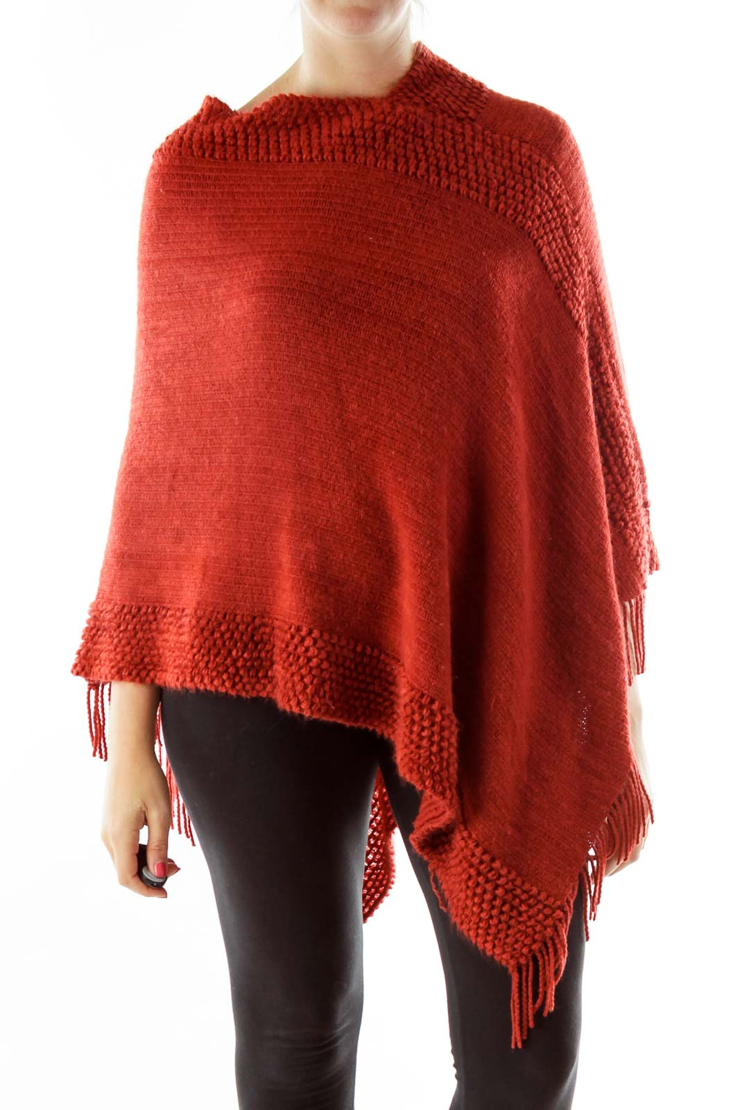 Red Knitted Poncho