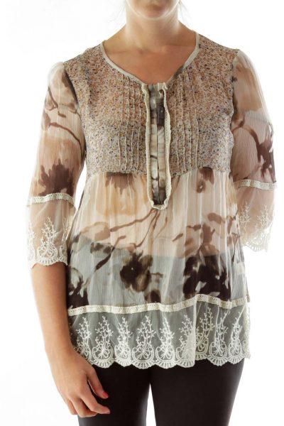 Beige Lace Silk Blouse