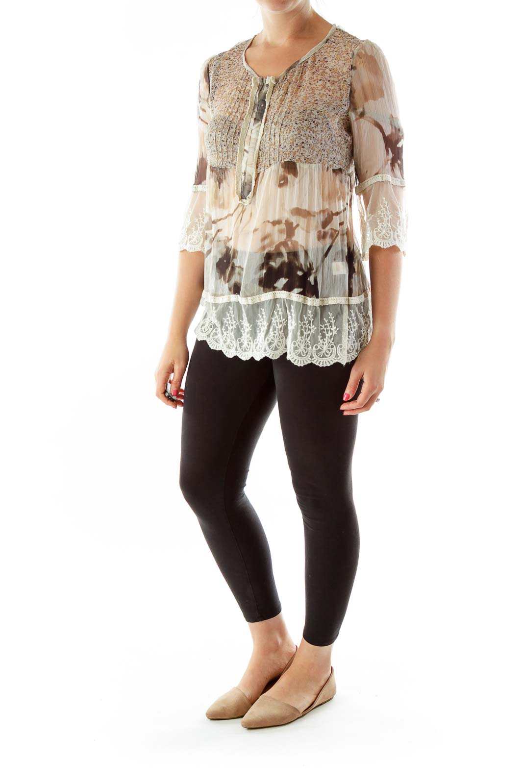 Beige Lace Silk Blouse