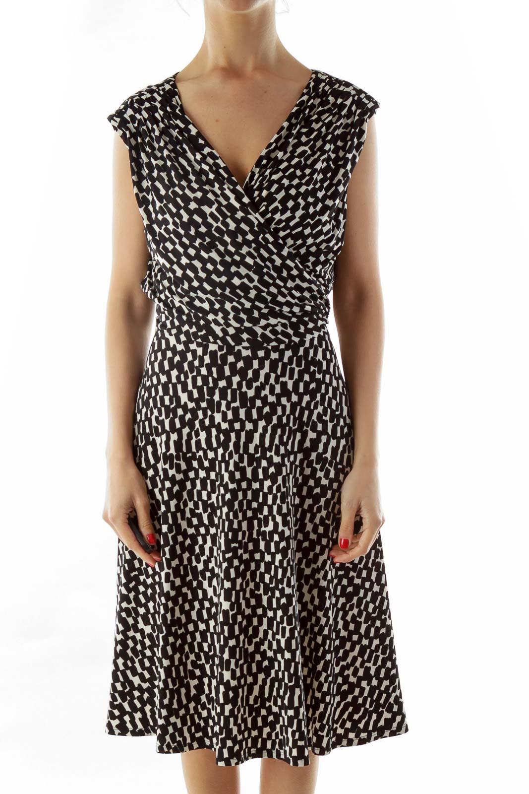 Black White Print Work Dress