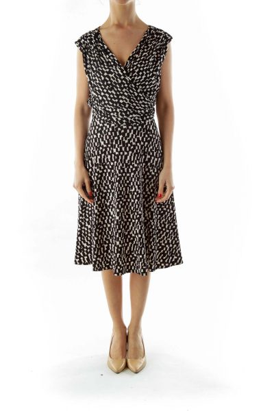 Black White Print Work Dress