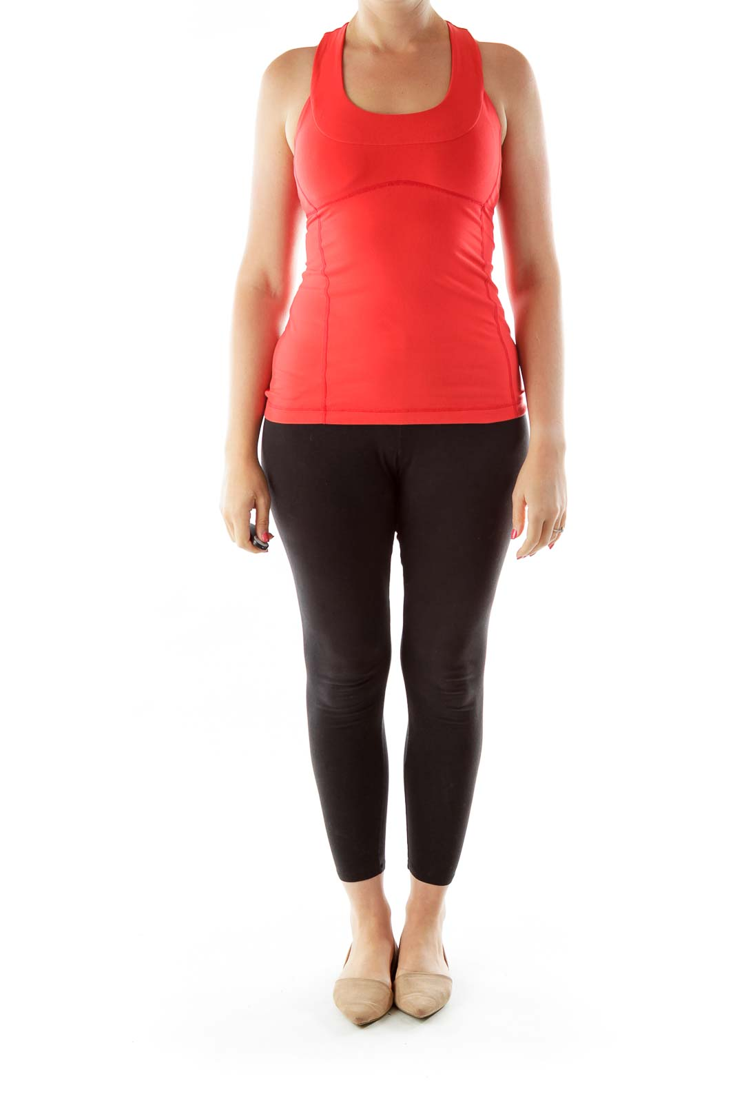 Red Round Neck Yoga Top