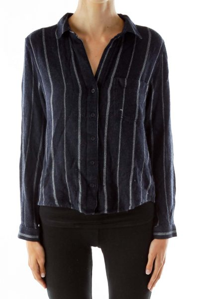 Navy Pinstripe Textured Shirt