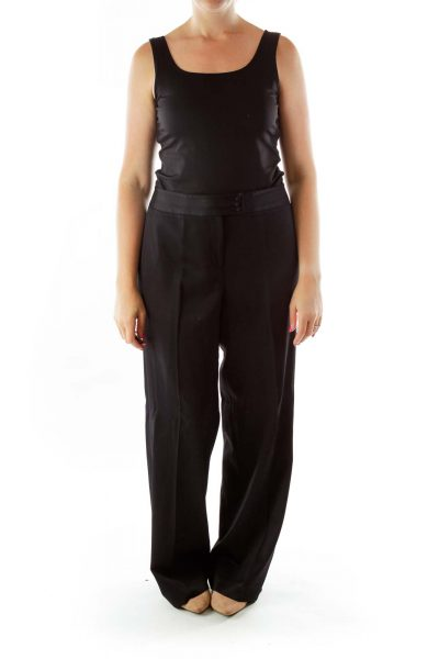 Black Fitted Straight Leg Slacks