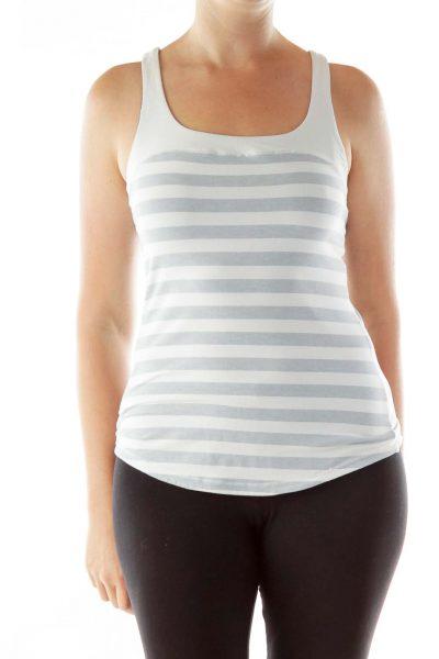 Cream Gray Striped Yoga Tank Top