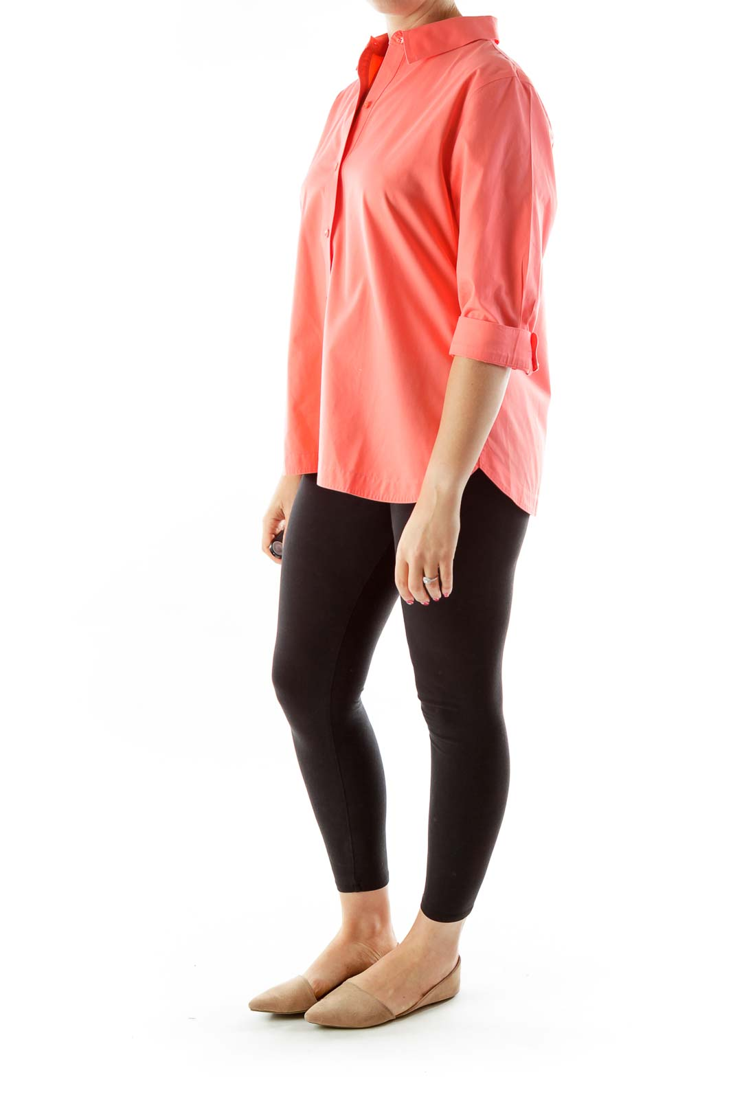 Pink Cropped Sleeve Shirt