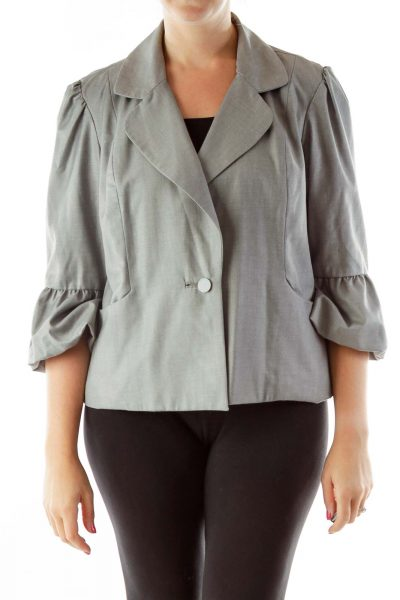 Gray Puffy Sleeves Blazer