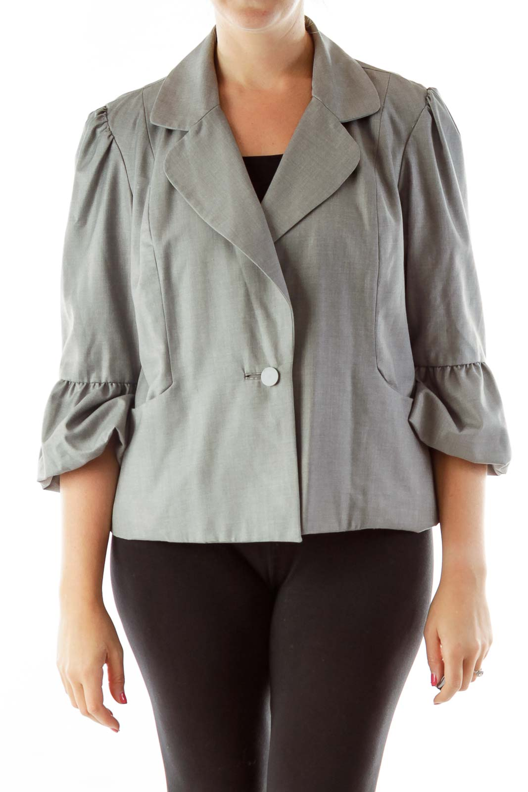 Gray Puffy Sleeves Blazer