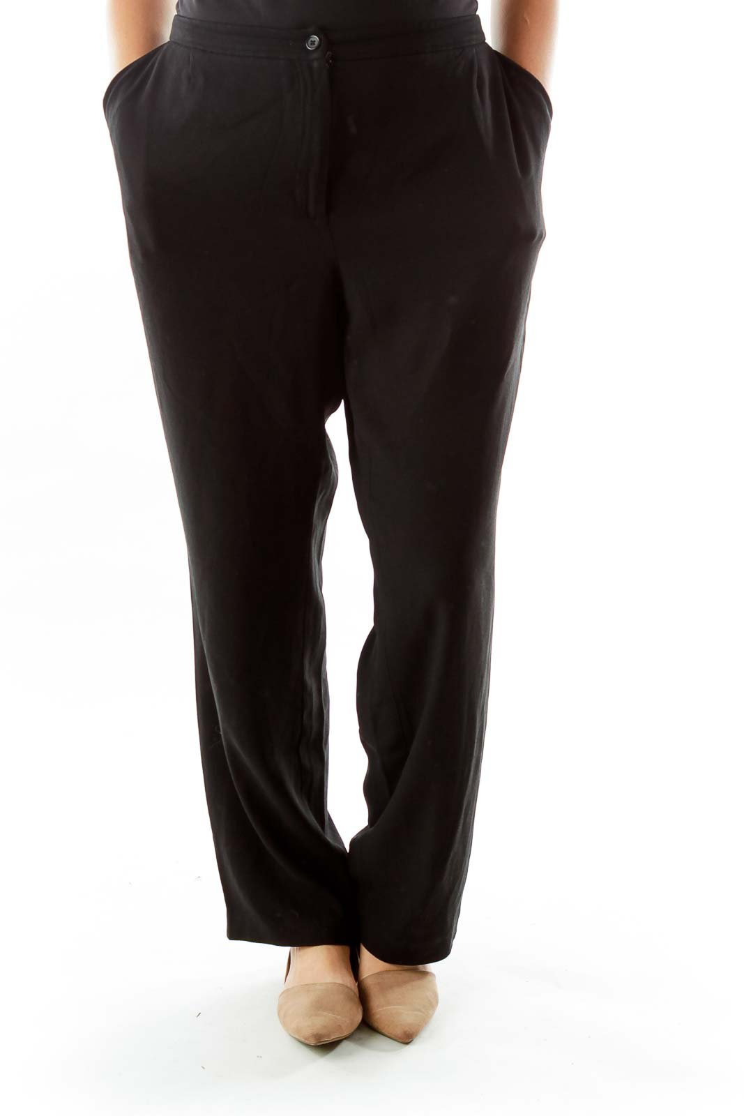 Black Straight Leg Slacks