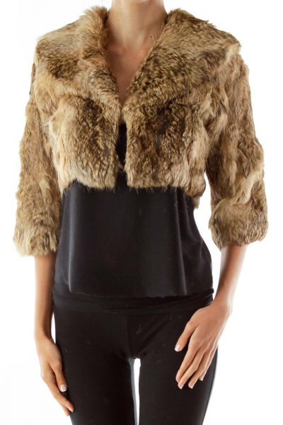 Brown Collared Cropped Fur Jacket