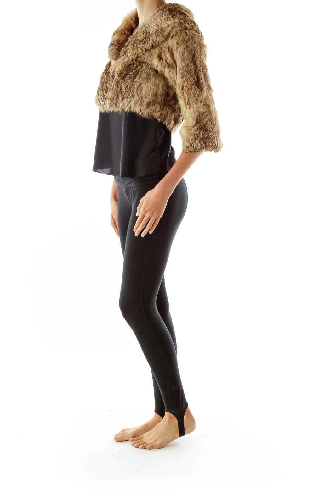 Brown Collared Cropped Fur Jacket