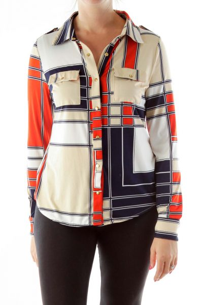 Beige Navy Red Geometric Print Shirt