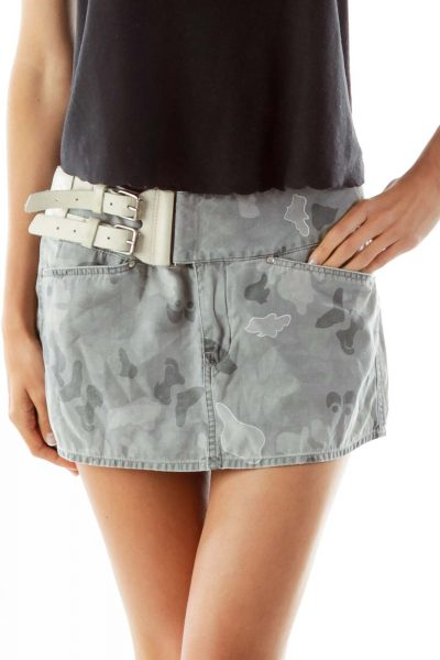 Grey Camouflage Belted Mini Skirt