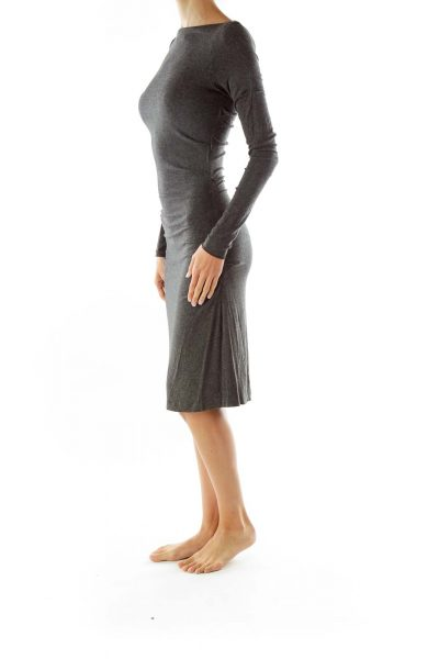 Gray Scrunched Maxi Jersey Dress