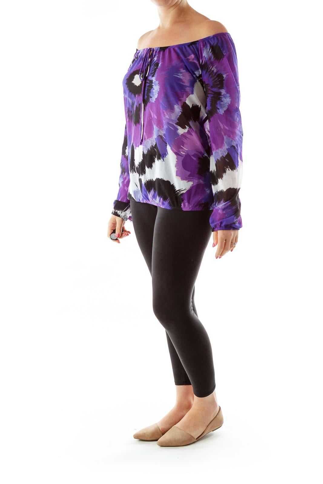 Purple White Black Printed Blouse