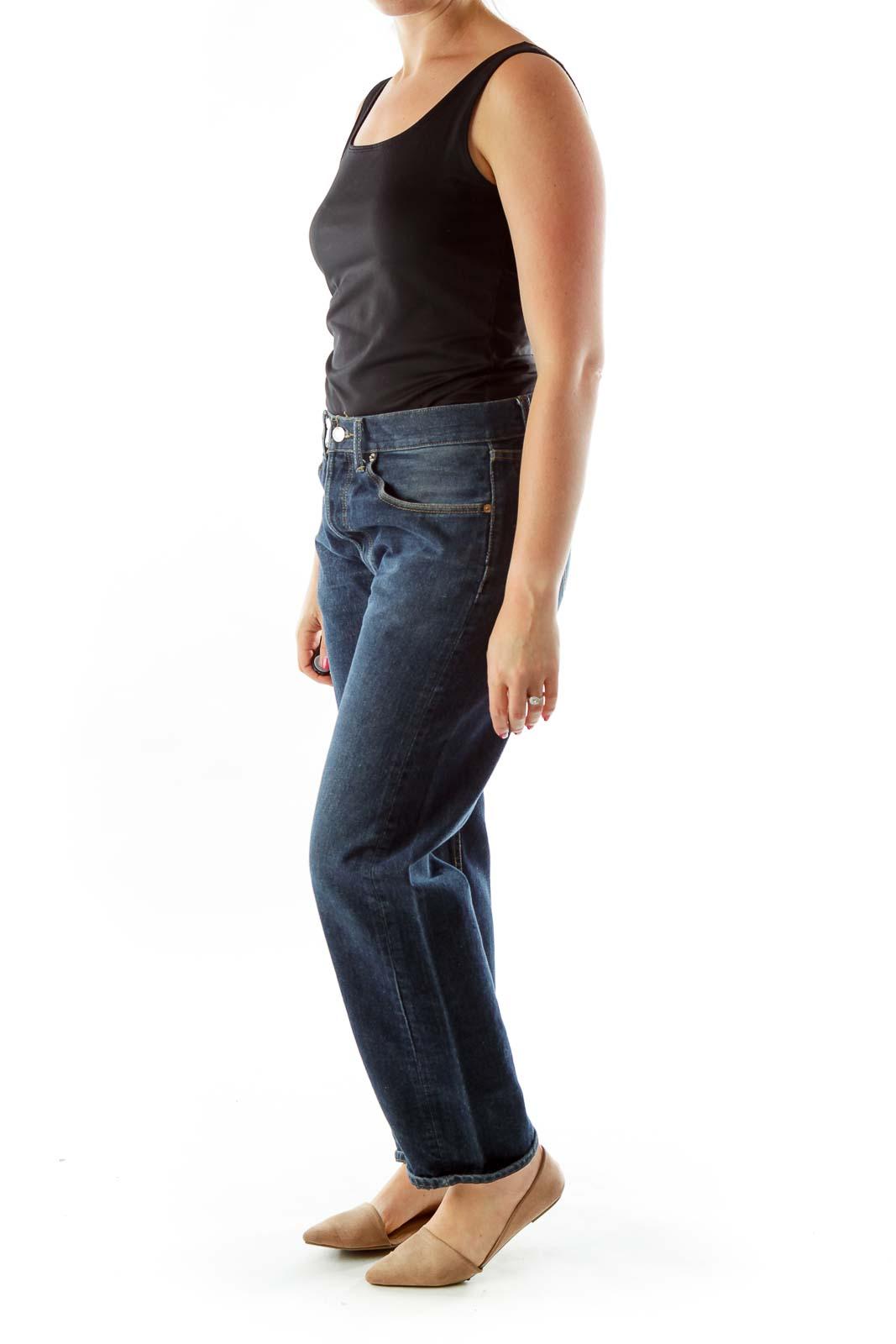 Blue Denim Straight-Leg Jeans