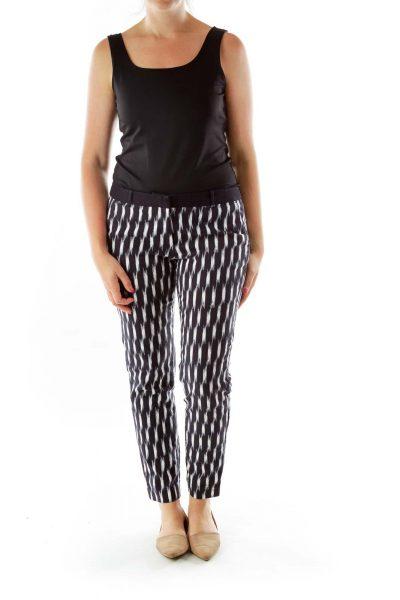 Black White Striped Slacks