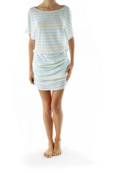 White Blue Green Striped Loose Scrunched Dress