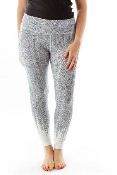 Black White Spotted Yoga Pants