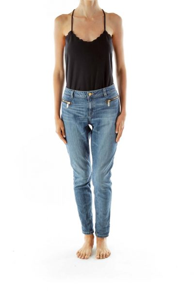 Blue Denim Straight Leg Jeans