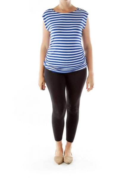 Blue White Striped Zipper Sleeve Top