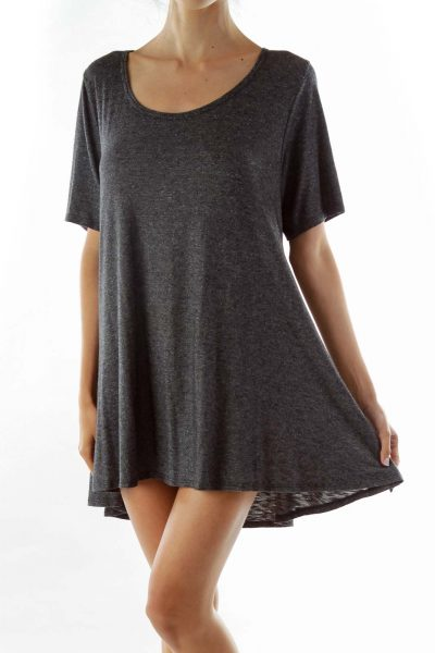 Gray Mottled T-Shirt Dress