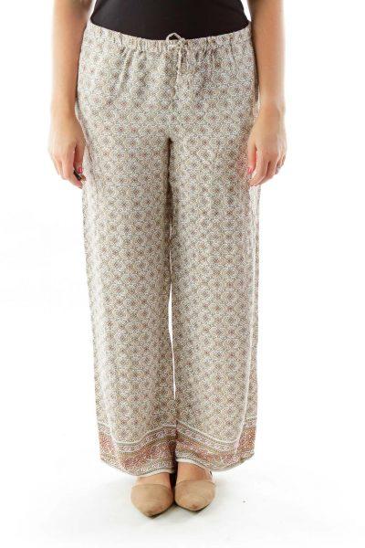 Beige Print Wide Leg Pants