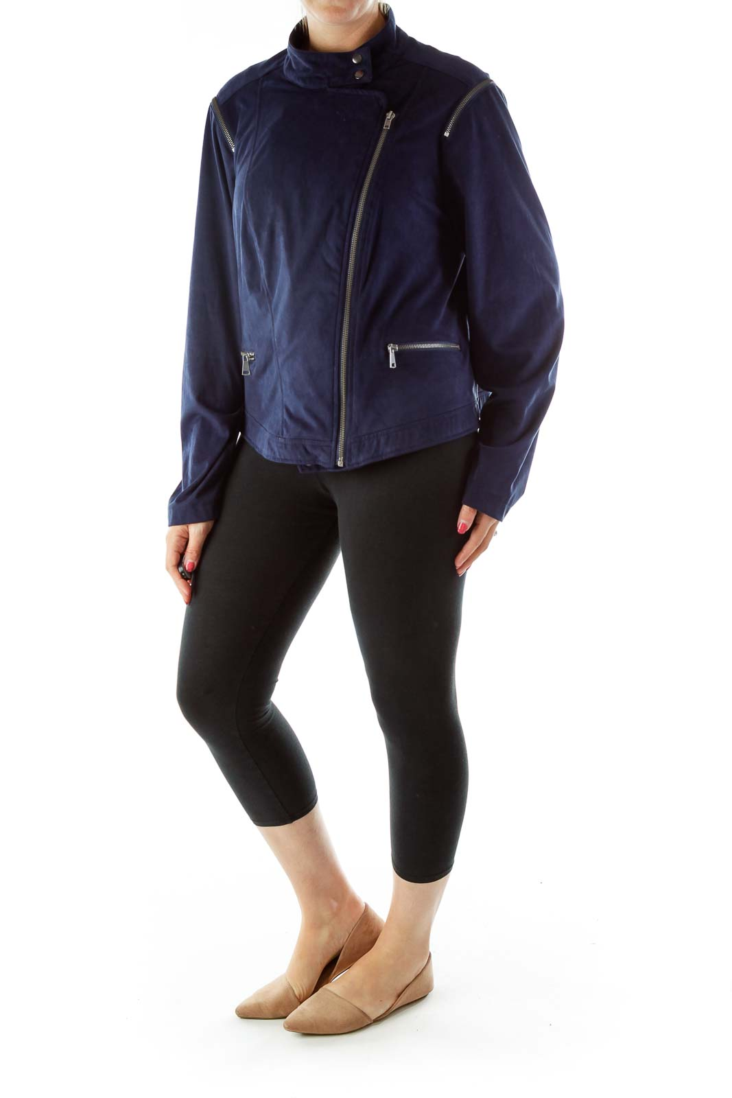 Blue Faux Suede Zippered Bomber Jacket