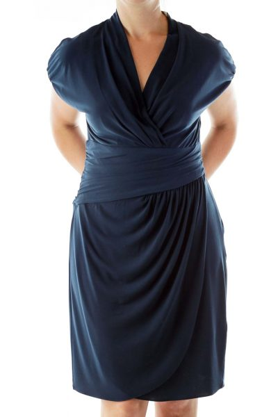 Navy Scrunched Wrap Dress