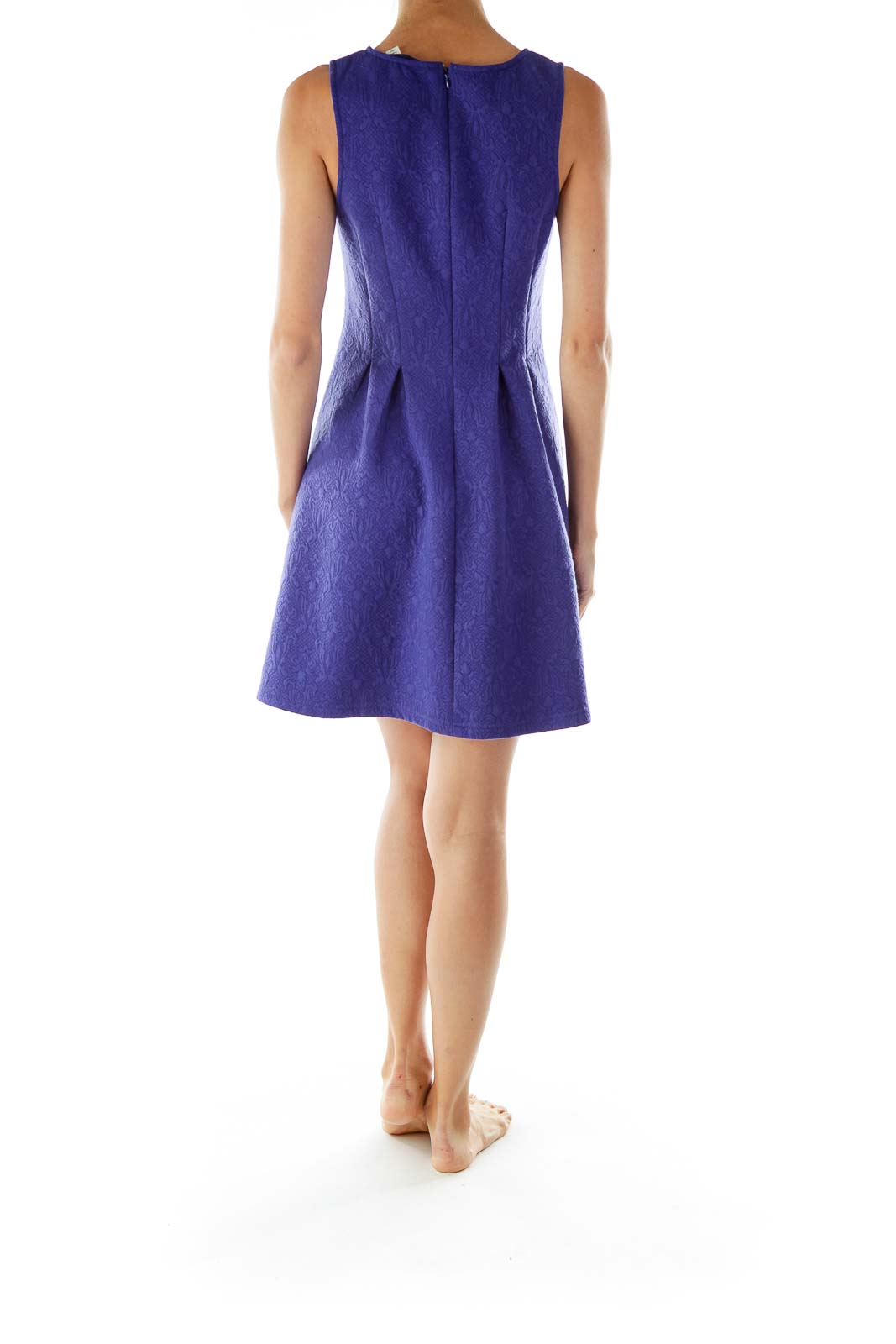Purple Embossed A-Line Dress