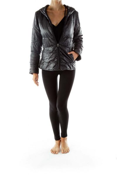 Black Hooded Padded Coat
