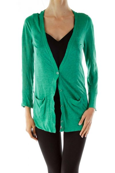 Green Pocketed Buttoned Jacket