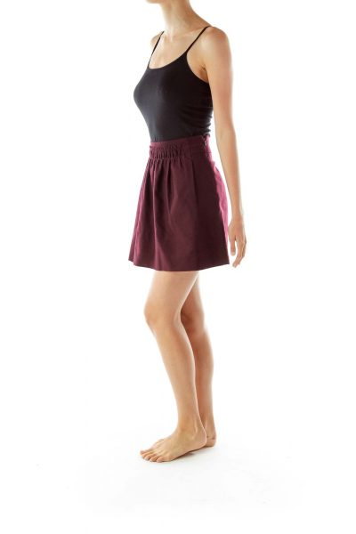 Purple Flared Scrunched Skirt
