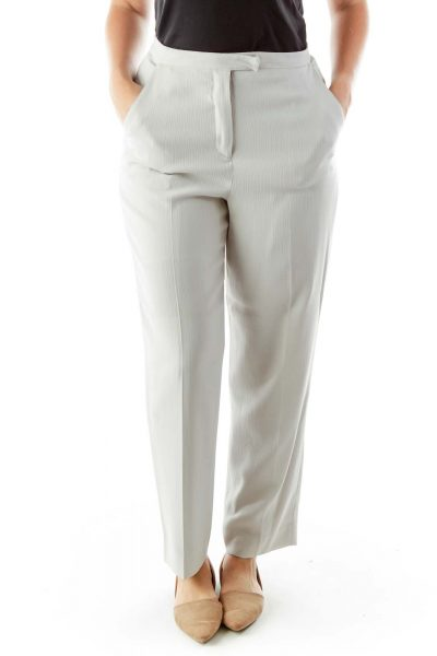 Gray Embossed Stripes Pants Suit