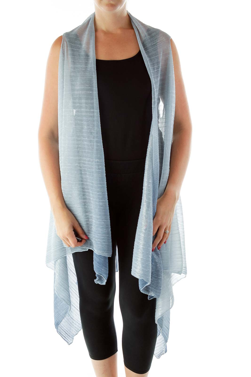 Blue Silver Sparkly Ombre Vest