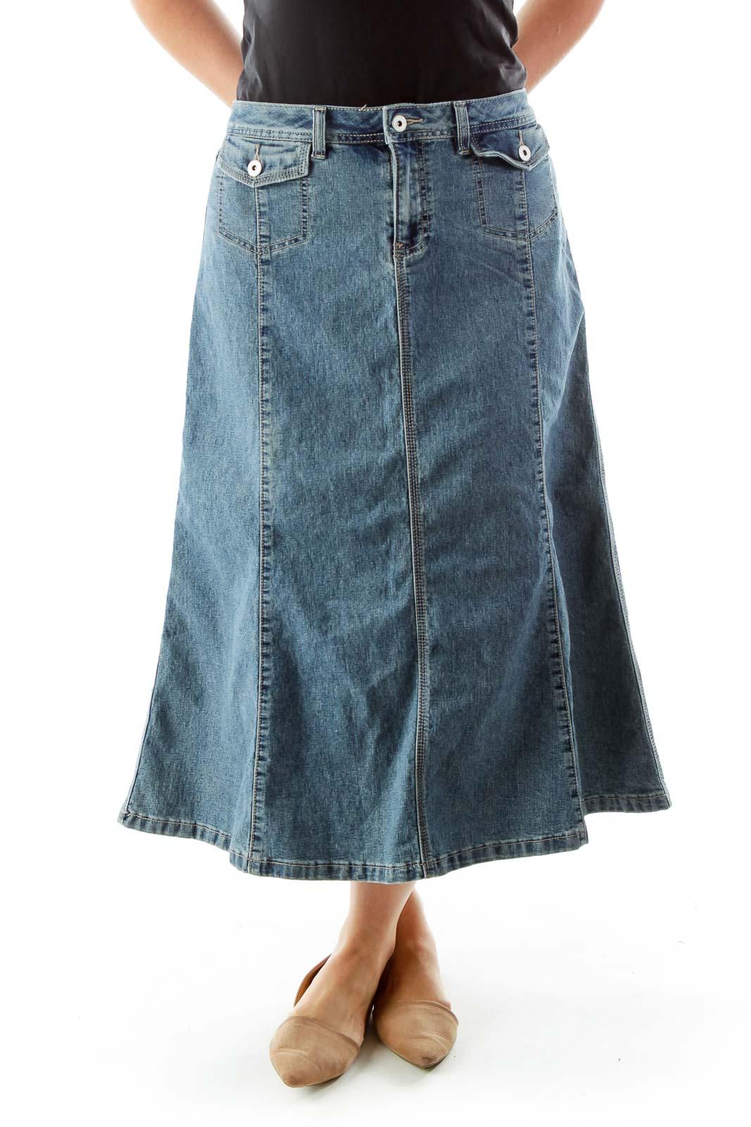 Blue Pocketed Shift Denim Skirt