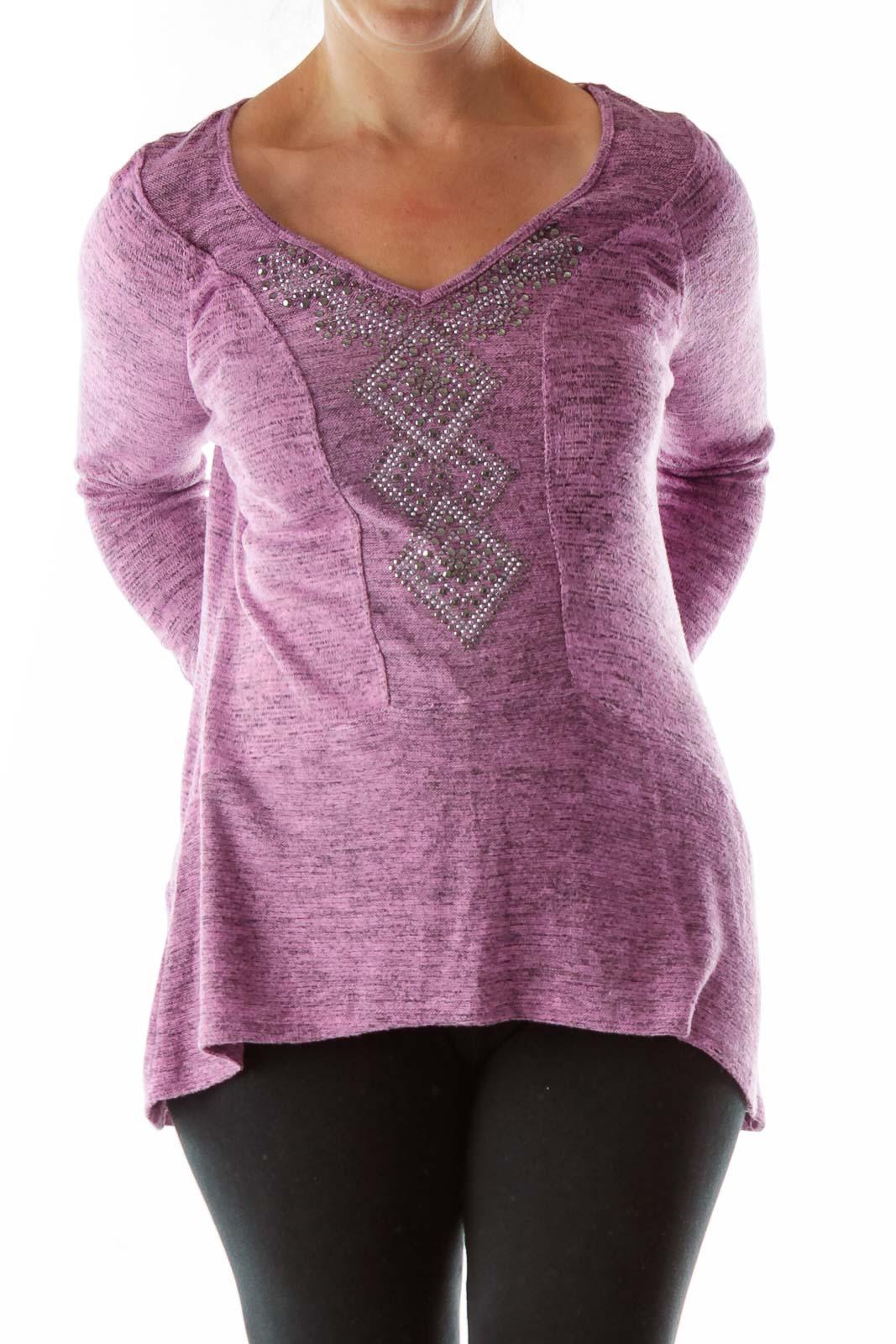 Purple Sweatshirt w/ Rhinestones