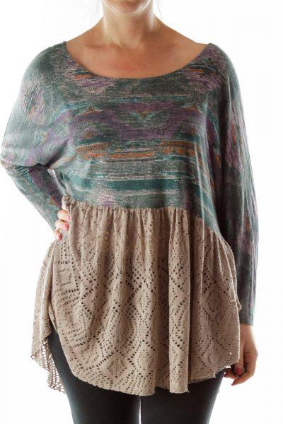 Green Brown Lace Boho Tunic